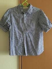 美品★白×ブルー★ストライプ★半袖シャツ