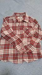 赤チェック柄ネルシャツ130