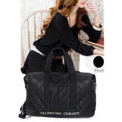 新品【6904】【黒】VALENTINO CHRISTY「キルト」ボストンバッグ