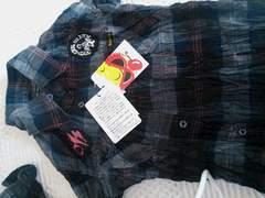 ヒスミニ シワ加工チェックシャツ男女OK ワッペン 100センチ