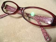 COACHコーチ.レッドクリア&シグネチャー柄の2ツートーン極上の眼鏡フレーム現在伊達眼鏡