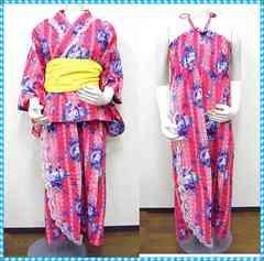 花柄★浴衣サンドレス 3L (ピンク系)