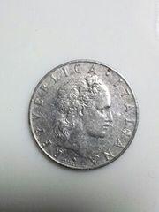 イタリア 50リラ硬貨 1956年銘 ステンレスコイン  古代の鍛冶屋 流通品