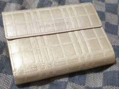 バーバリー 本革製二折財布 ゴールド・中古