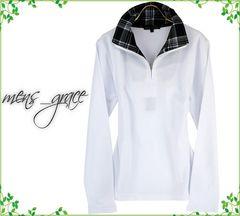 新品 長袖ポロシャツ 襟チェック ハーフジップ ホワイト 3L