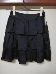 美品Xmissキスミス三段フリルスカートブラック黒サイズ35