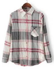 チェックシャツ ベージュ×レッド M