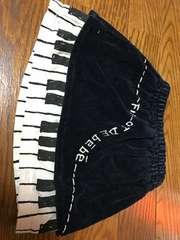 BEBEベベコーデュロイピアノガラ可愛いスカート90cm音符鍵盤