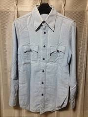 古着 リーバイス ユーズド加工 長袖デニムシャツ XSサイズ 青水色 インディゴ USA
