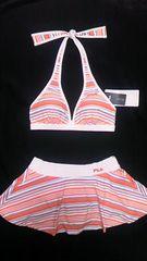 フィラロゴ刺繍&マルチカラーボーダー柄ホルターリボン三角ビキニスカパン水着オレンジ