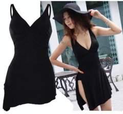 新品【6882】XL(大きいサイズ)黒裾斜めワンピース水着