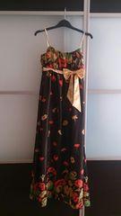 7号 ロングドレス ブラック×オレンジ花柄 リボン 新品 E1501