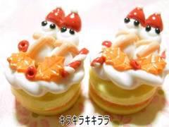 クリスマスケーキ<樹脂粘土>ω雪ダルマver2個セット