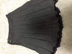 裾レースプリーツスカート チャコールグレー