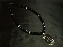 梵字も選べるドッグタグ×ブラックスピネル数珠ネックレス!!オーダー可