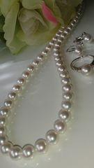 極美♪あこや真珠ネックレス・Ptダイアモンドリング・イヤリングのセット♪