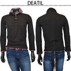 ● フェイクレイヤードチェック柄配色長袖ポロシャツ XL