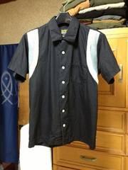 古着 細身 切り返し・半袖シャツ Sサイズ 黒色×白グレー ロックパンク ポケット
