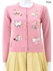 Chesty/FlowerEmbroideryCardigan/チェスティ/フラワー刺繍カーディガン/ピンク