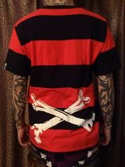 即決FxxKスカルボーン赤×黒ボーダーTシャツ!パンクロッククロマニヨンズヒロトRANCID