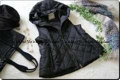 ◆新品◇3L◇可愛いフード付き中綿INキルトベスト♪黒