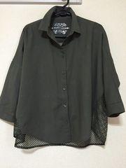 MK WORKS LONDON5分袖後ろ編みシャツL★moussy MURUA系