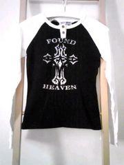 LAZY DAISY ☆ラグラン ホワイト&ブラック バイカラー  クロス 長袖Tシャツ
