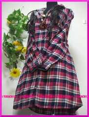 冬新作◆大きいサイズ4Lピンク系チェック柄◆前ボタン◆シャツチュニック