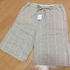 新品◆ピュアルセシン◆刺繍柄ナチュラルハーフパンツ綿麻リネン