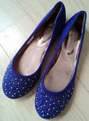 21〜21.5cm★SS★スタッズバレエパンプス★ぺたんこ靴★ブルー★新品