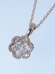K18PG花柄ダイヤモンドネックレス