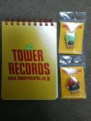 タワーレコード×ポンキッキーズメモ帳&ピンバッジ2種新品
