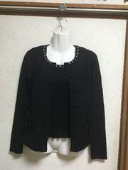 ミッシュマッシュ リボンビジューアンサンブル黒ブラック38長袖