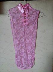 レース 薔薇柄 ミニチャイナ服  ティーバッグ付き 新品