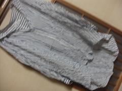 グローバルワーク*七分袖薄手ストライプブラウスS*クリックポスト164円