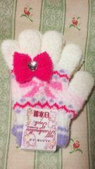新品ジュニア手袋キラキラハートリボン 付きホワイトピンク