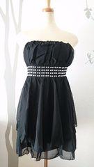 L ミディミニドレス ブラック シフォンティアード 新品 E1642
