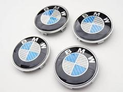 BMW 青銀 カーボン エンブレム ホイル センターキャップ 4個 68