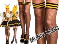 A255)MUSICLEGSトップボーダーサイハイストッキング黒黄タイツみつばちコスプレハロウィン
