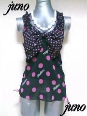 MARSロゴ水玉ドット柄リボンフリルシフォンシャーリングホルターキャミチュニックワンピ黒ピンク