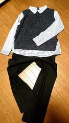 着やすい☆薄手ニットソー×ストライプシャツが一体化したレイヤー風PO*L