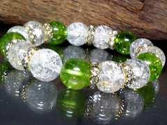 ライトグリーンクラック水晶§クラック水晶12�_金ロンデル