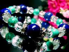 ラピスラズリ瑠璃12ミリ§カット水晶§ターコイズ§8ミリ§波銀ロンデル