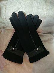 送料無料! 新品未使用 スマホ対応手袋(ブラック リボン)