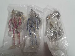 ペンタブルスケルトンキーホルダー骸骨ロック新品3個まとめ売りピンク白ブルー