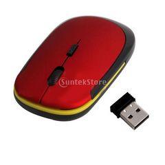 ☆2.4GHz帯の超薄型のUSB 2.0ワイヤレス光学式マウス レッド