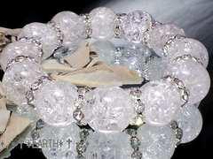 天然石★16ミリ爆裂クラック水晶AAA&銀色波形ロンデル数珠