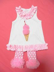 アイスクリームチュニックレギンス子供服ベビーピンク白mudpie