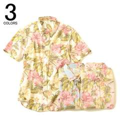 花柄シャツ半袖ボタンダウンシャツLライトピンク◆JSOUL