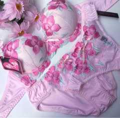 巨乳☆F70M 刺繍ピンク ブラ&パンティ&Tバック 大きいサイズ